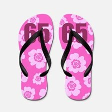 65th Birthday Flowers Flip Flops