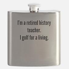 Retired History Teacher Golfer Flask
