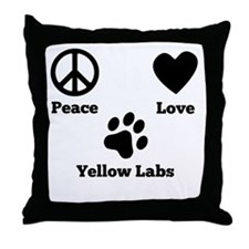 Peace Love Yellow Labs Throw Pillow