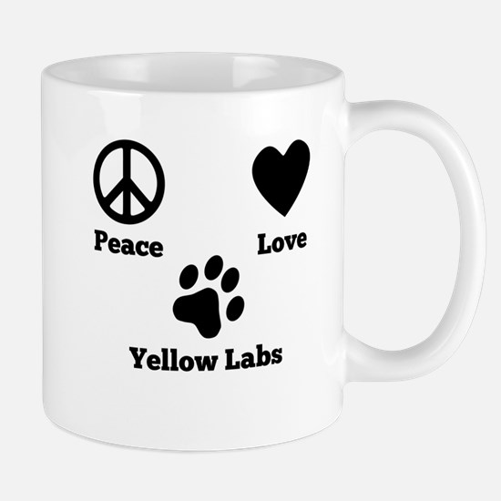 Peace Love Yellow Labs Mugs