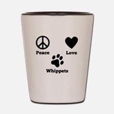 Peace Love Whippets Shot Glass