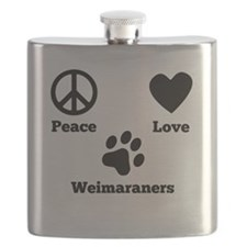 Peace Love Weimaraners Flask