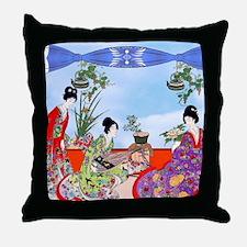 Geisha, Musicians, Kimonos ! Throw Pillow