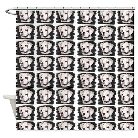 White Boxer Puppy Shower Curtain
