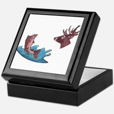 deer head and trout Keepsake Box
