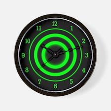 Green Target Clock Wall Clock