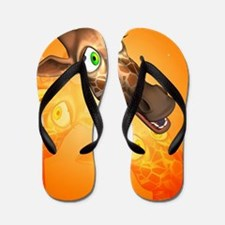 Funny cartoon giraffe Flip Flops
