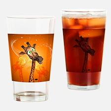 Funny cartoon giraffe Drinking Glass