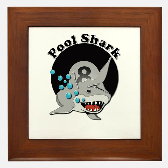 Eight Ball Pool Shark Framed Tile