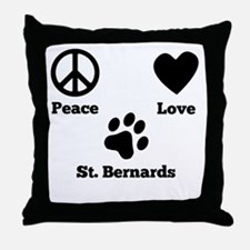 Peace Love St. Bernards Throw Pillow