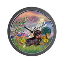 Cloud Angel & Wire Haired Dachshund Wall Clock