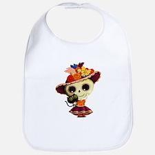 Cute Dia de Los Muertos Skeleton Girl Bib