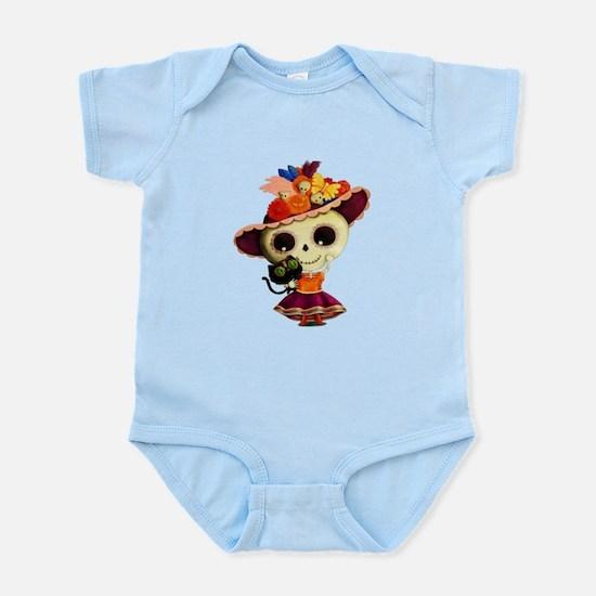 Cute Dia de Los Muertos Skeleton Girl Body Suit