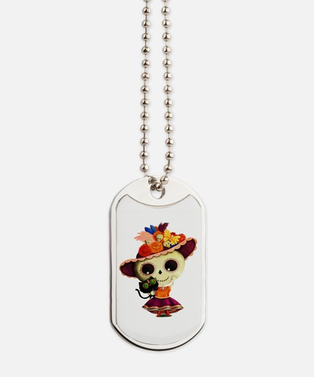 Cute Dia de Los Muertos Skeleton Girl Dog Tags