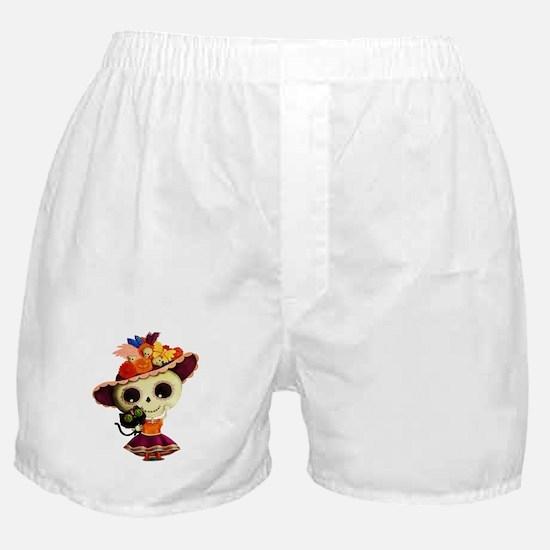 Cute Dia de Los Muertos Skeleton Girl Boxer Shorts