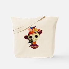 Cute Dia de Los Muertos Skeleton Girl Tote Bag