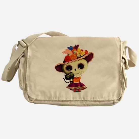 Cute Dia de Los Muertos Skeleton Girl Messenger Ba