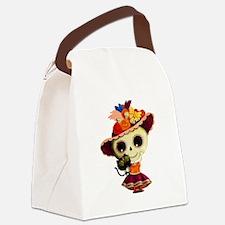 Cute Dia de Los Muertos Skeleton Girl Canvas Lunch