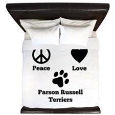 Peace Love Parson Russell Terriers King Duvet