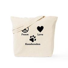 Peace Love Keeshonden Tote Bag