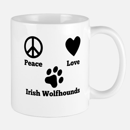 Peace Love Irish Wolfhounds Mugs