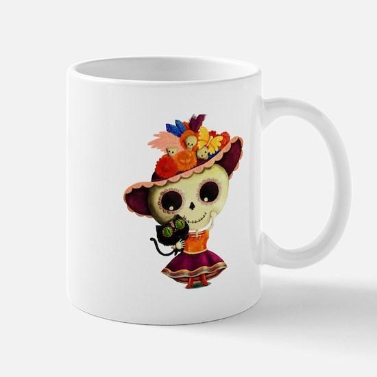 Cute Dia de Los Muertos Skeleton Girl Mugs