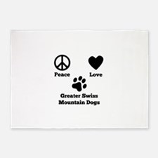Peace Love Greater Swiss Mountain Dogs 5'x7'Area R