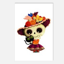 Cute Dia de Los Muertos Skeleton Girl Postcards (P