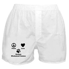 Peace Love German Wirehaired Pointers Boxer Shorts