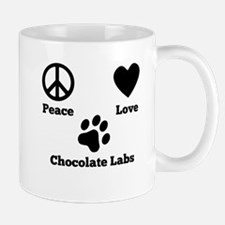 Peace Love Chocolate Labs Mugs