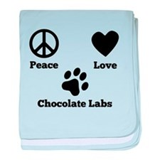 Peace Love Chocolate Labs baby blanket