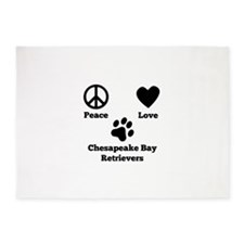 Peace Love Chesapeake Bay Retrievers 5'x7'Area Rug
