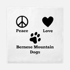Peace Love Bernese Mountain Dogs Queen Duvet