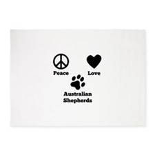 Peace Love Australian Shepherds 5'x7'Area Rug