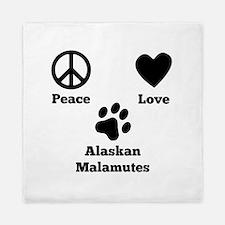 Peace Love Alaskan Malamutes Queen Duvet