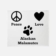 Peace Love Alaskan Malamutes Throw Blanket