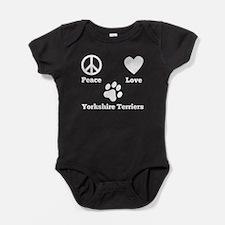 Peace Love Yorkshire Terriers Baby Bodysuit