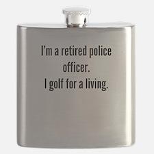 Retired Police Officer Golfer Flask