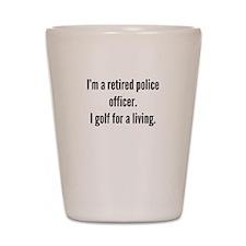 Retired Police Officer Golfer Shot Glass