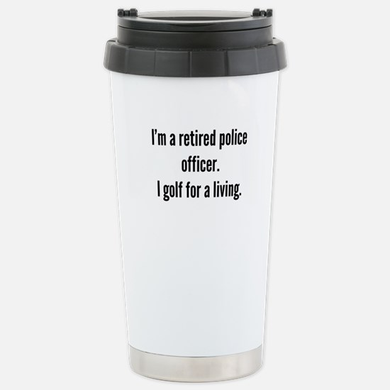 Retired Police Officer Golfer Travel Mug