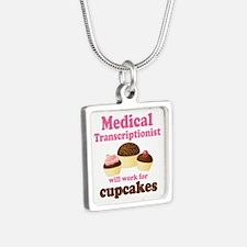 Medical Transcriptionist Silver Square Necklace
