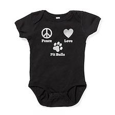Peace Love Pit Bulls Baby Bodysuit
