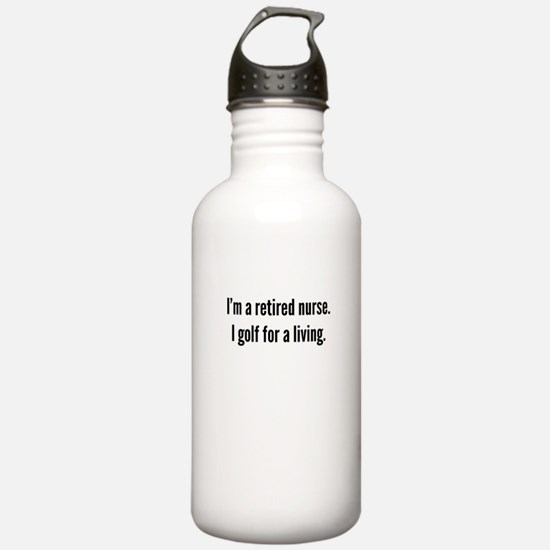 Retired Nurse Golfer Water Bottle