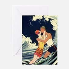 Vintage Art Deco Love Romantic Kiss Greeting Cards
