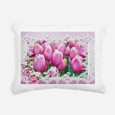 Pink Tulips and Lace Rectangular Canvas Pillow