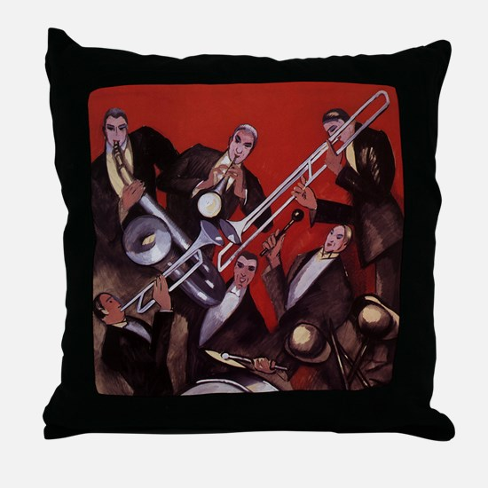 Vintage Music, Art Deco Jazz Throw Pillow