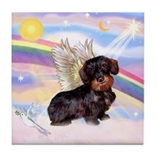Angel Wire Haired Dachshund Tile Coaster