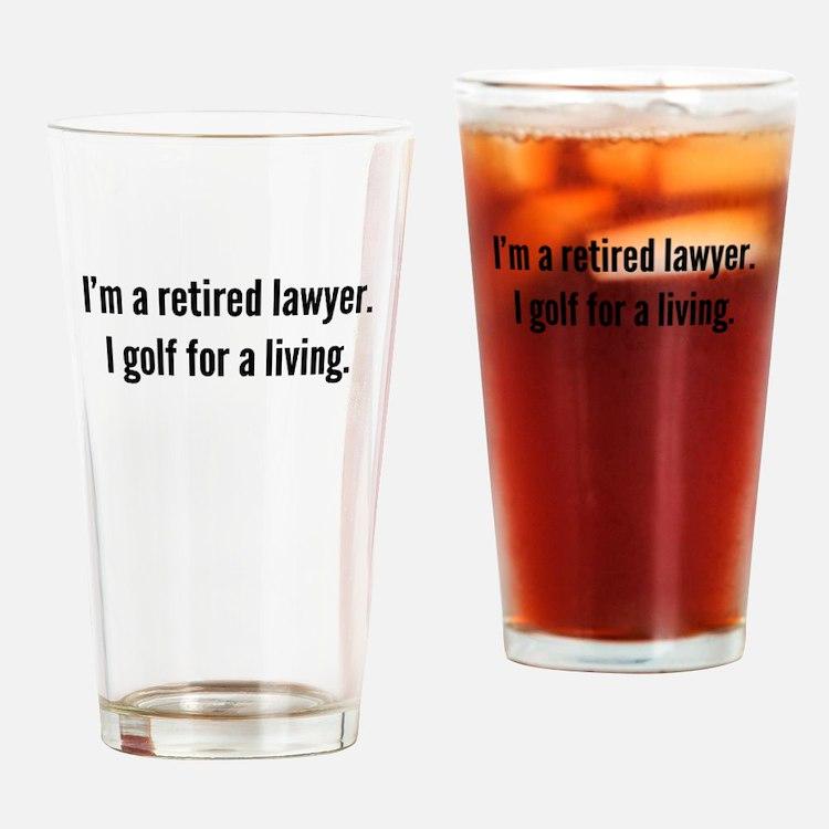 Retired Lawyer Golfer Drinking Glass