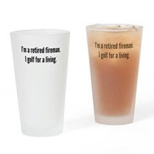 Retired Fireman Golfer Drinking Glass