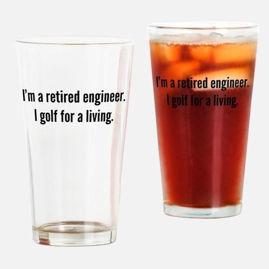 Retired Engineer Golfer Drinking Glass
